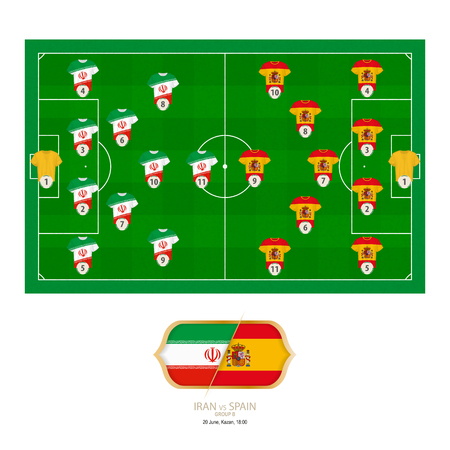 Football match Iran versus Spain. Iran preferred system lineup 4-2-3-1, Spain preferred system lineup 4-5-1.