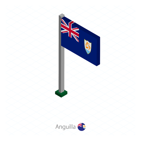 Anguilla Flag on Flagpole in Isometric dimension. Isometric blue background. Vector illustration.