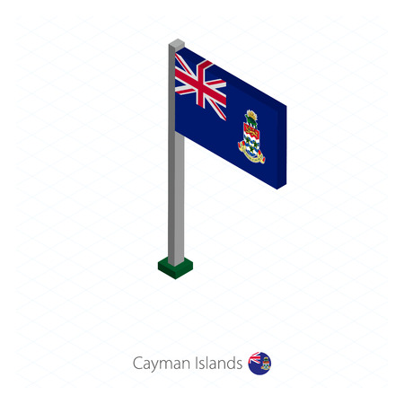 Cayman Islands Flag on Flagpole in Isometric dimension. Isometric blue background. Vector illustration.