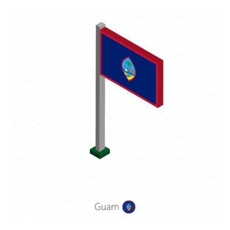 Guam Flag on Flagpole in Isometric dimension. Isometric blue background. Vector illustration.