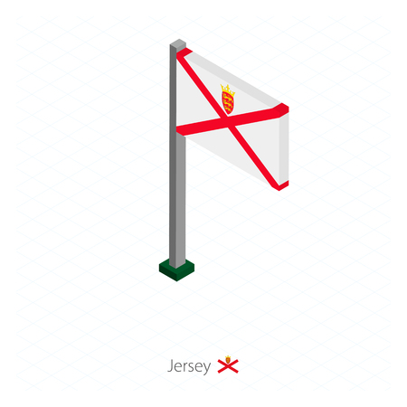 Jersey Flag on Flagpole in Isometric dimension. Isometric blue background. Vector illustration.