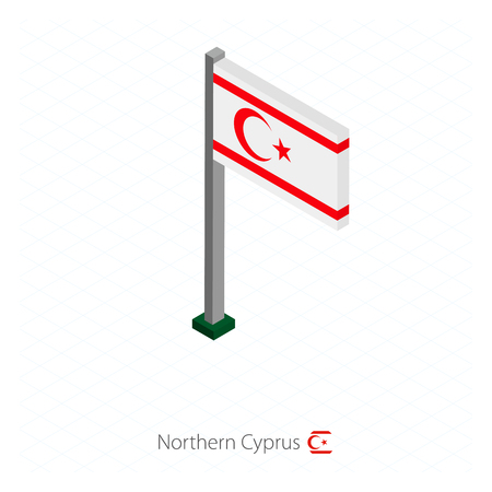 Northern Cyprus Flag on Flagpole in Isometric dimension. Isometric blue background. Vector illustration.