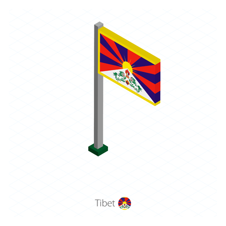 Tibet Flag on Flagpole in Isometric dimension. Isometric blue background. Vector illustration.