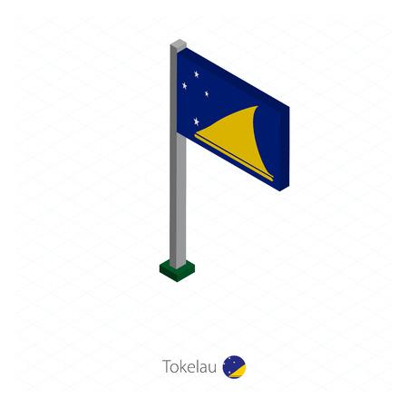Vlag van Tokelau op vlaggenmast in isometrische dimensie. Isometrische blauwe achtergrond. Vector illustratie.