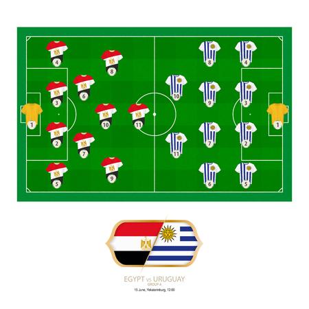 Football match Egypt versus Uruguay. Egypt preferred system lineup 4-2-3-1, Uruguay preferred system lineup 4-4-2.