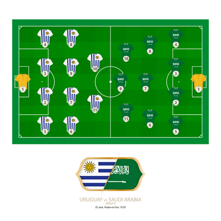 Football match Uruguay versus Saudi Arabia. Uruguay preferred system lineup 4-4-2, Saudi Arabia preferred system lineup 4-3-3.