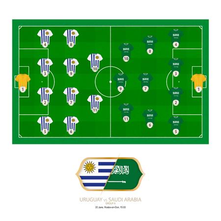 Football match Uruguay versus Saudi Arabia. Uruguay preferred system lineup 4-4-2, Saudi Arabia preferred system lineup 4-3-3.
