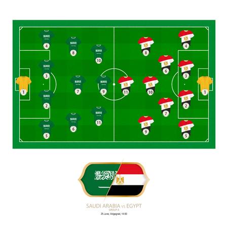 Football match Saudi Arabia versus Egypt. Saudi Arabia preferred system lineup 4-3-3, Egypt preferred system lineup 4-2-3-1.