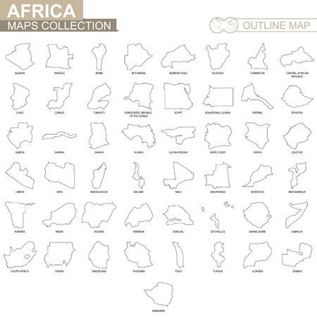 Outline maps of African countries collection, black lined vector map.