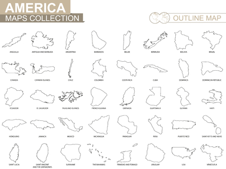 Outline maps of American countries collection, black lined vector map.