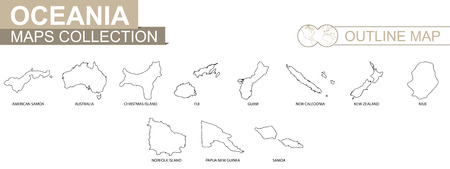 Outline maps of Oceanian countries collection, black lined vector map. Illustration