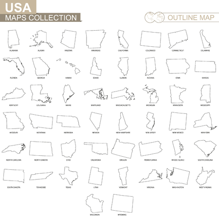 Outline maps of USA states collection, black lined vector map.
