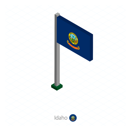 Idaho US state flag on flagpole in isometric dimension. Isometric blue background. Vector illustration. Ilustração
