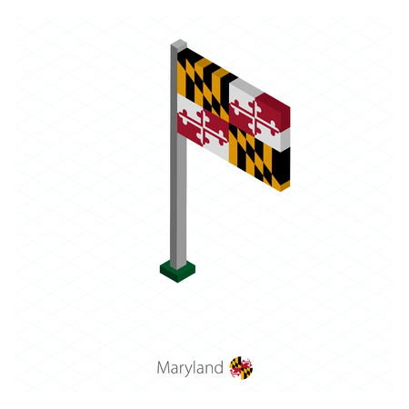 Maryland US state flag on flagpole in isometric dimension. Isometric blue background. Vector illustration.