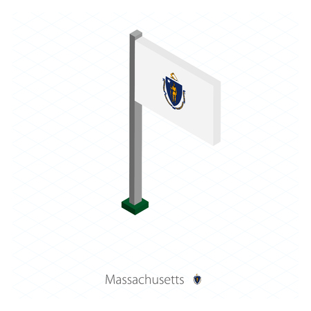 Massachusetts US state flag on flagpole in isometric dimension. Isometric blue background. Vector illustration.