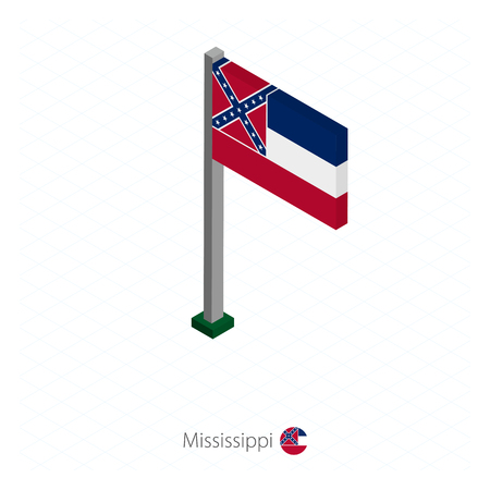 Mississippi US state flag on flagpole in isometric dimension. Isometric blue background. Vector illustration.