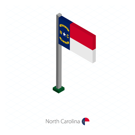 North Carolina US state flag on flagpole in isometric dimension. Isometric blue background. Vector illustration. Illustration