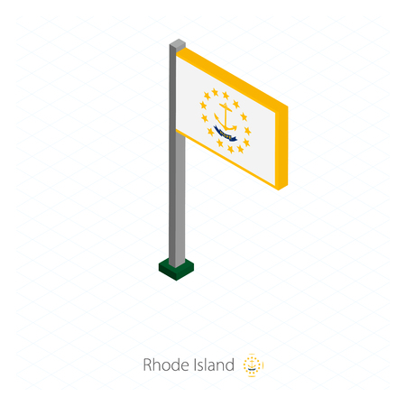 Rhode Island US state flag on flagpole in isometric dimension. Isometric blue background. Vector illustration.