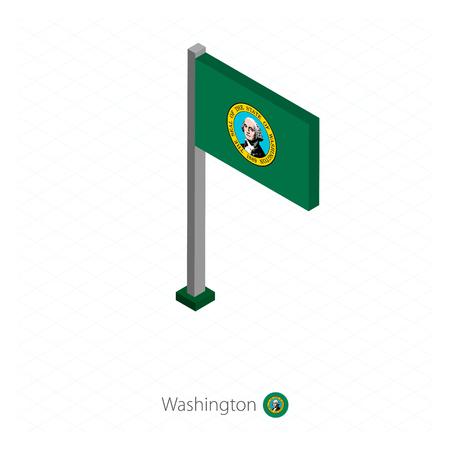Washington US state flag on flagpole in isometric dimension. Isometric blue background. Vector illustration.