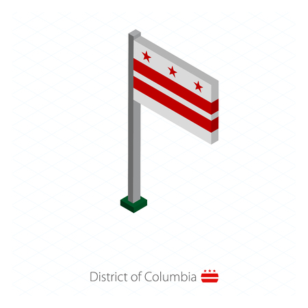 District of Columbia US state flag on flagpole in isometric dimension. Isometric blue background. Vector illustration.