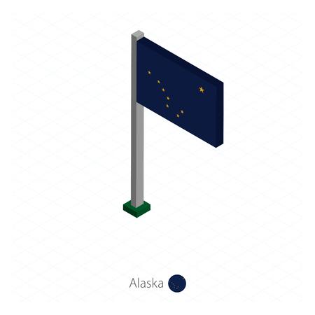Alaska US state flag on flagpole in isometric dimension. Isometric blue background. Vector illustration.