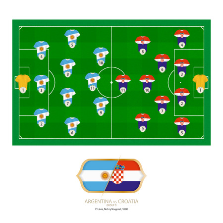 Football match Argentina versus Croatia. Argentina preferred system lineup 3-4-3, Croatia preferred system lineup 4-2-3-1. Stock Illustratie