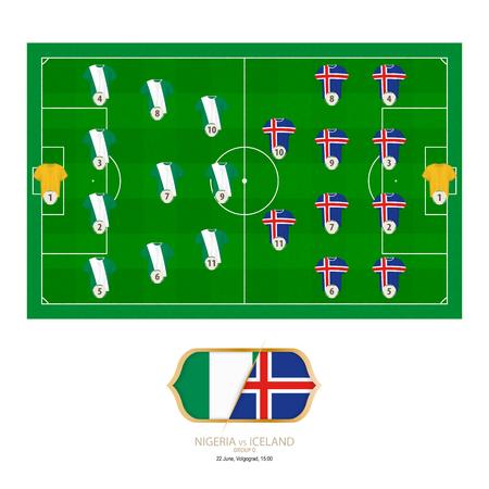 Football match Nigeria versus Iceland. Nigeria preferred system lineup 4-3-3, Iceland preferred system lineup 4-4-2.