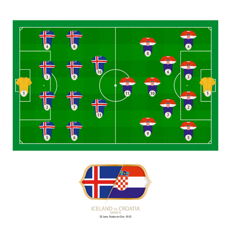 Football match Iceland versus Croatia. Iceland preferred system lineup 4-4-2, Croatia preferred system lineup 4-2-3-1.