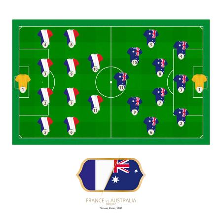 Football match France versus Australia. France preferred system lineup 4-4-2, Australia preferred system lineup 3-4-1-2.