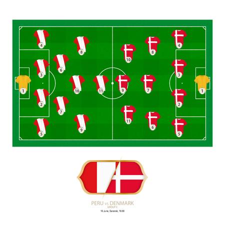 Football match Peru versus Denmark. Peru preferred system lineup 4-2-3-1, Denmark preferred system lineup 4-3-3.