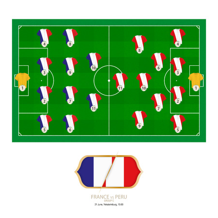 Football match France versus Peru. France preferred system lineup 4-4-2, Peru preferred system lineup 4-2-3-1.