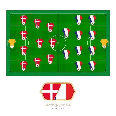 Football match Denmark versus France. Denmark preferred system lineup 4-3-3, France preferred system lineup 4-4-2. Stock Illustratie