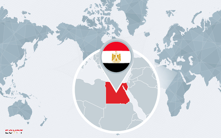 World map centered on America with magnified Egypt. Blue flag and map of Egypt. Abstract vector illustration. Çizim