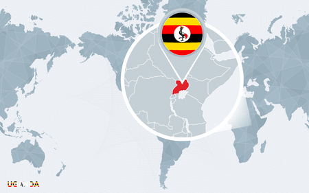 World Map Centered On America With Magnified Uganda. Blue Flag ...