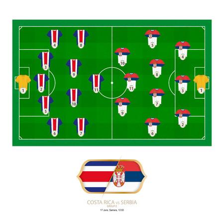 Football match Costa Rica versus Serbia. Costa Rica preferred system lineup 5-4-1, Serbia preferred system lineup 3-4-3. Stock Illustratie
