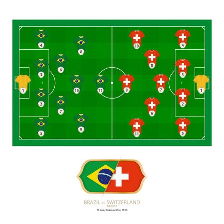 Football match Brazil versus Switzerland. Brazil preferred system lineup 4-2-3-1, Switzerland preferred system lineup 4-5-1.