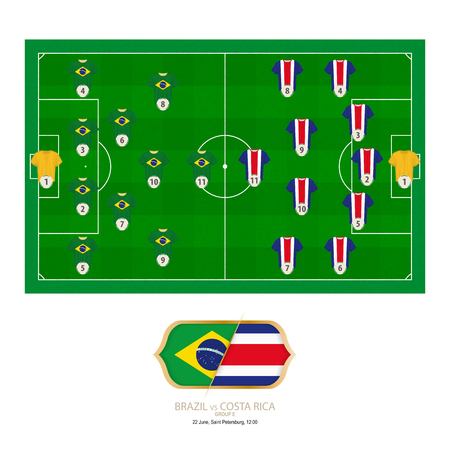Football match Brazil versus Costa Rica. Brazil preferred system lineup 4-2-3-1, Costa Rica preferred system lineup 5-4-1.