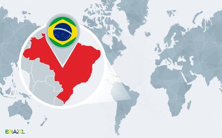拡大ブラジルとアメリカを中心とした世界地図。ブラジルの青い旗と地図。抽象的なベクトルのイラスト。