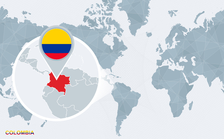 World map centered on America with magnified Colombia. Blue flag and map of Colombia. Abstract vector illustration.