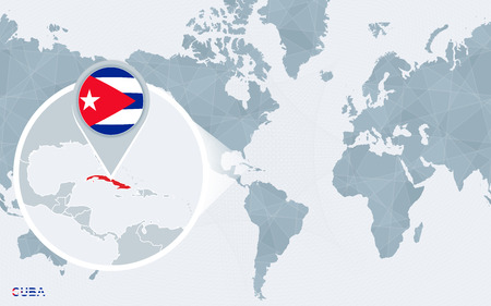 World Map Centered On America With Magnified Cuba. Blue Flag ...