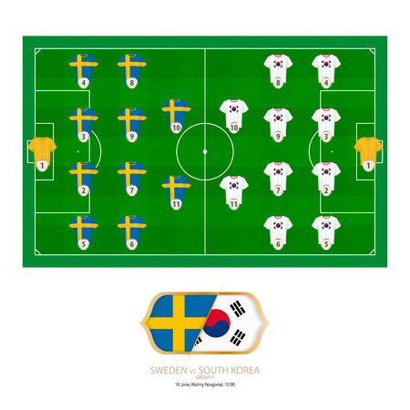 Football match Sweden versus South Korea. Sweden preferred system lineup 4-4-2, South Korea preferred system lineup 4-4-2. Çizim