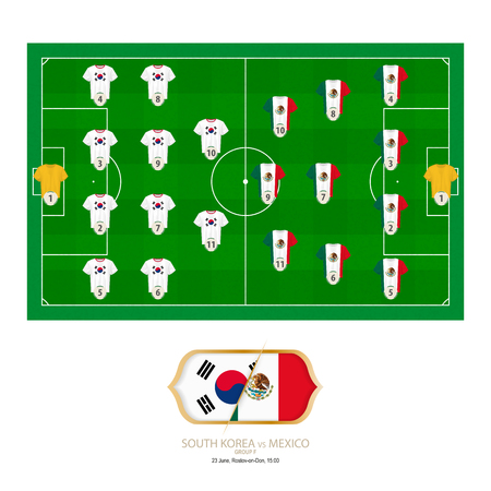 Football match South Korea versus Mexico. South Korea preferred system lineup 4-4-2, Mexico preferred system lineup 4-3-3. Stock Illustratie