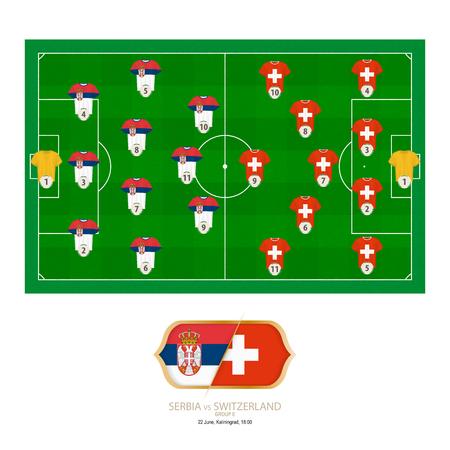Football match Serbia versus Switzerland. Serbia preferred system lineup 3-4-3, Switzerland preferred system lineup 4-5-1.