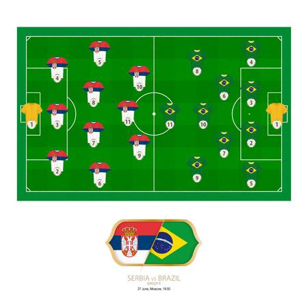 Football match Serbia versus Brazil. Serbia preferred system lineup 3-4-3, Brazil preferred system lineup 4-2-3-1.