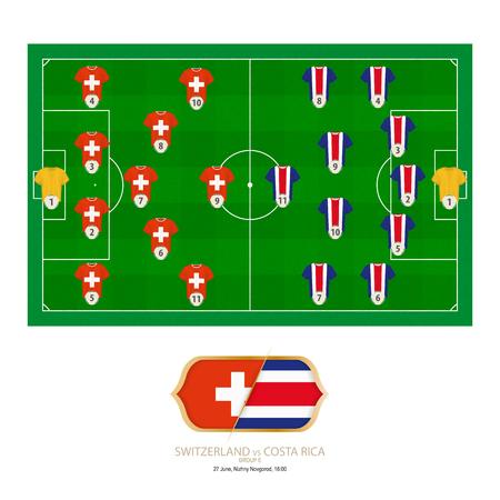 Football match Switzerland versus Costa Rica. Switzerland preferred system lineup 4-5-1, Costa Rica preferred system lineup 5-4-1.