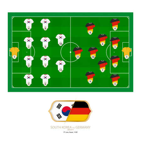 Football match South Korea versus Germany. South Korea preferred system lineup 4-4-2, Germany preferred system lineup 4-2-3-1. Stock Illustratie