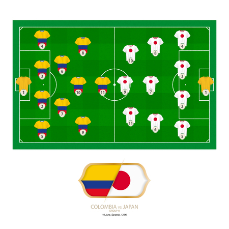 Football match Colombia versus Japan. Colombia preferred system lineup 4-2-3-1, Japan preferred system lineup 4-3-3.