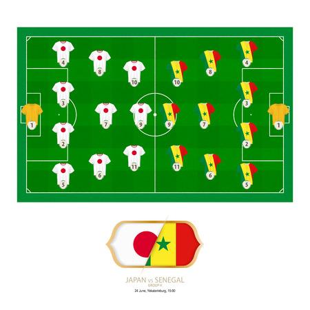Football match Japan versus Senegal. Japan preferred system lineup 4-3-3, Senegal preferred system lineup 4-3-3.
