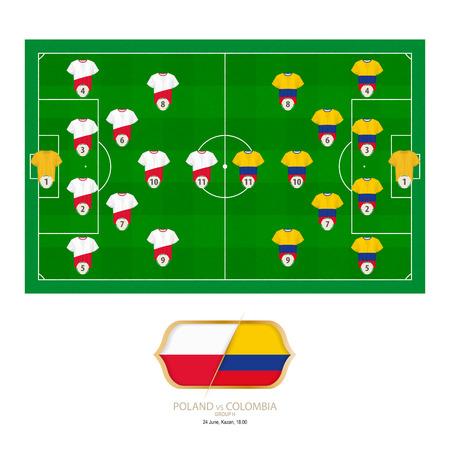 Football match Poland versus Colombia. Poland preferred system lineup 4-2-3-1, Colombia preferred system lineup 4-2-3-1.