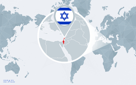 World map centered on America with magnified Israel. Blue flag and map of Israel. Abstract vector illustration.